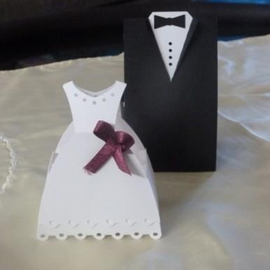 scatoline portaconfetti sposa e sposo