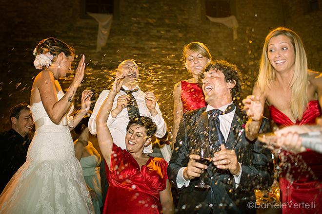 Foto matrimonio con damigelle in rosso