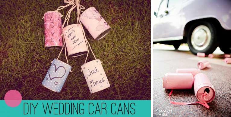 decorazioni macchina di matrimonio fai da te con lattine