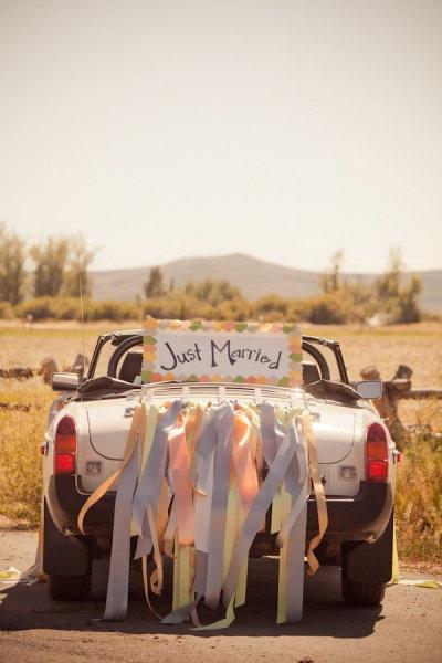 Natri in raso per decorare l'auto di matrimonio