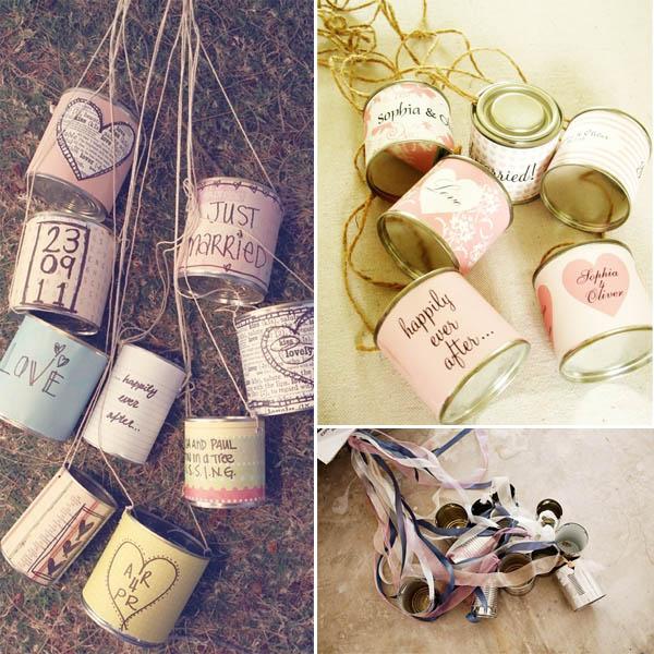decorazioni,auto,sposi,lattine